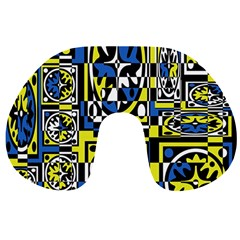 Blue And Yellow Decor Travel Neck Pillows by Valentinaart