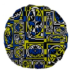 Blue And Yellow Decor Large 18  Premium Flano Round Cushions by Valentinaart