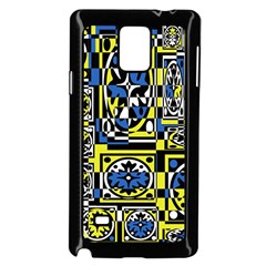 Blue And Yellow Decor Samsung Galaxy Note 4 Case (black) by Valentinaart