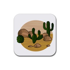 Desert 2 Rubber Square Coaster (4 Pack)  by Valentinaart