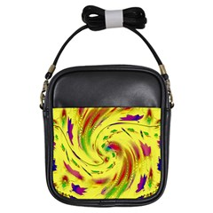 Leaf And Rainbows In The Wind Girls Sling Bags by pepitasart