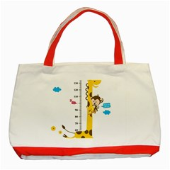 Cute Giraffe Monkey Classic Tote Bag (red)