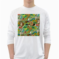 D Pattern White Long Sleeve T Shirts by AnjaniArt