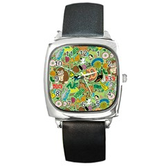 D Pattern Square Metal Watch by AnjaniArt