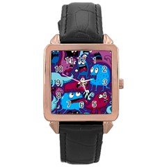 Deep Wow Purple Cartoons Rose Gold Leather Watch