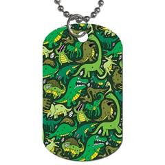 Dino Pattern Cartoons Dog Tag (two Sides)