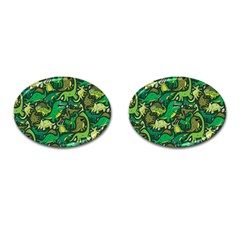 Dino Pattern Cartoons Cufflinks (oval)