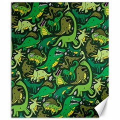 Dino Pattern Cartoons Canvas 8  X 10