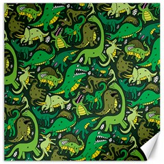 Dino Pattern Cartoons Canvas 12  X 12   by AnjaniArt