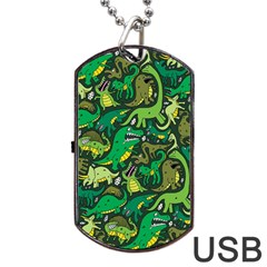 Dino Pattern Cartoons Dog Tag Usb Flash (two Sides)  by AnjaniArt