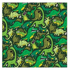 Dino Pattern Cartoons Large Satin Scarf (square) by AnjaniArt