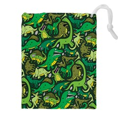 Dino Pattern Cartoons Drawstring Pouches (xxl)