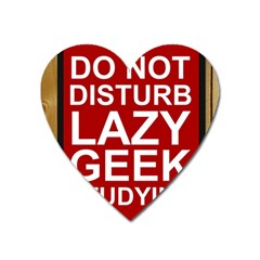 Do Not Disturb Lazy Geek Studying Glass Framed Poster Heart Magnet by AnjaniArt