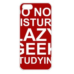 Do Not Disturb Lazy Geek Studying Glass Framed Poster Apple Iphone 5 Seamless Case (white)