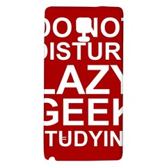 Do Not Disturb Lazy Geek Studying Glass Framed Poster Galaxy Note 4 Back Case by AnjaniArt