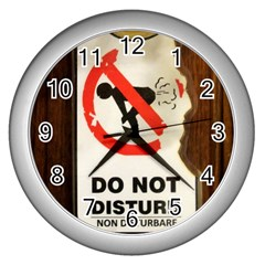 Do Not Disturb Sign Please Go Away I Don T Care Wall Clocks (silver)  by AnjaniArt