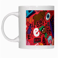 E Pattern Cartoons White Mugs