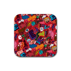 E Pattern Cartoons Rubber Square Coaster (4 Pack)