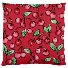 Cherry Cherries For Spring Large Flano Cushion Case (two Sides) by BubbSnugg