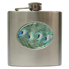 Peacock Feathers Macro Hip Flask (6 Oz) by GiftsbyNature