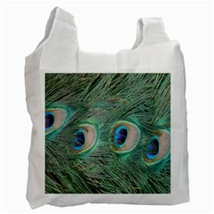Peacock Feathers Macro Recycle Bag (one Side) by GiftsbyNature