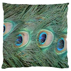 Peacock Feathers Macro Large Flano Cushion Case (one Side) by GiftsbyNature