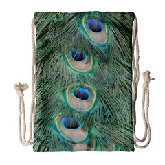 Peacock Feathers Macro Drawstring Bag (large) by GiftsbyNature