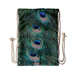 Peacock Feathers Macro Drawstring Bag (small) by GiftsbyNature