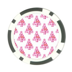 Pink Flamingo Santa Snowflake Tree  Poker Chip Card Guards by CrypticFragmentsColors