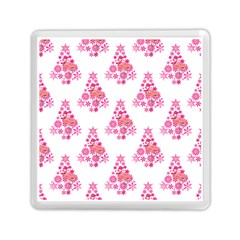Pink Flamingo Santa Snowflake Tree  Memory Card Reader (square)  by CrypticFragmentsColors