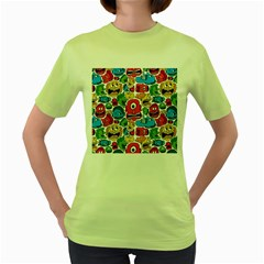 Face Creeps Cartoons Fun Women s Green T Shirt