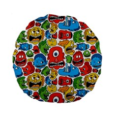 Face Creeps Cartoons Fun Standard 15  Premium Flano Round Cushions by AnjaniArt