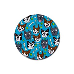 Face Dog And Bond Rubber Round Coaster (4 Pack)