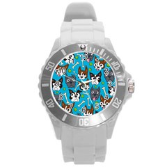 Face Dog And Bond Round Plastic Sport Watch (l)