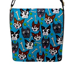 Face Dog And Bond Flap Messenger Bag (l)  by AnjaniArt