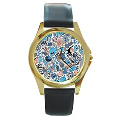 Gross Patten Now Round Gold Metal Watch by AnjaniArt