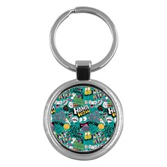 Haha Wow Pattern Key Chains (round)