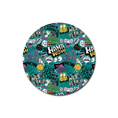 Haha Wow Pattern Rubber Round Coaster (4 Pack)