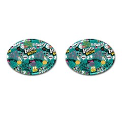 Haha Wow Pattern Cufflinks (oval) by AnjaniArt