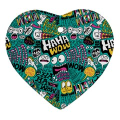 Haha Wow Pattern Heart Ornament (2 Sides) by AnjaniArt
