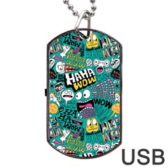 Haha Wow Pattern Dog Tag Usb Flash (two Sides)  by AnjaniArt
