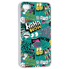 Haha Wow Pattern Apple Iphone 4/4s Seamless Case (white)