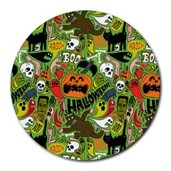 Halloween Pattern Round Mousepads by AnjaniArt