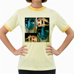 Holliwood Face Painting Women s Fitted Ringer T-shirts by AnjaniArt
