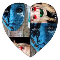 Holliwood Face Painting Jigsaw Puzzle (heart) by AnjaniArt