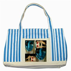 Holliwood Face Painting Striped Blue Tote Bag