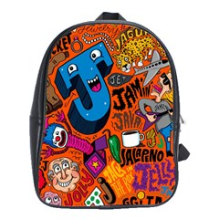 J Pattern Cartoons School Bags(large)  by AnjaniArt