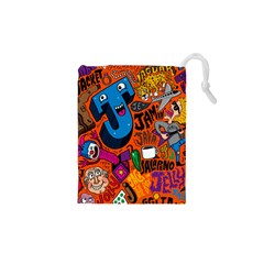 J Pattern Cartoons Drawstring Pouches (xs)  by AnjaniArt