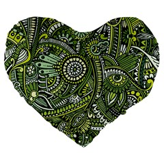 Green Boho Flower Pattern Zz0105 Large 19  Premium Heart Shape Cushion by Zandiepants