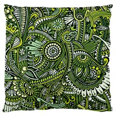 Green Boho Flower Pattern Zz0105 Standard Flano Cushion Case (one Side) by Zandiepants